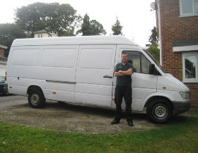 man and white van